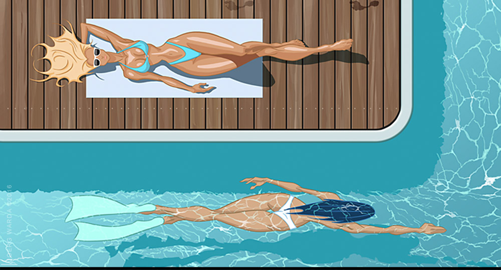 stylized illustration girls pool wellness joerg warda - warda-art.com