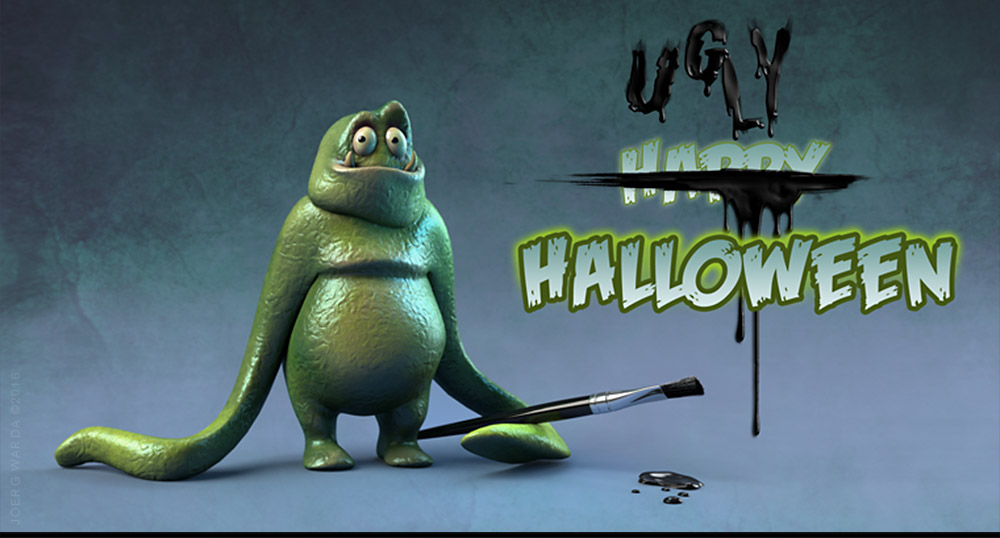 3d halloween monster character illustration by joerg warda - warda-art.com