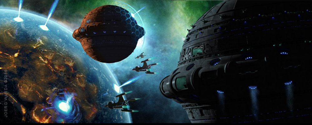 spaceship battle perry rhodan game art work by Joerg Warda - wardart.com