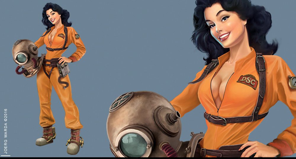 vintage diver girl game character art illustration by joerg warda - warda-art.com